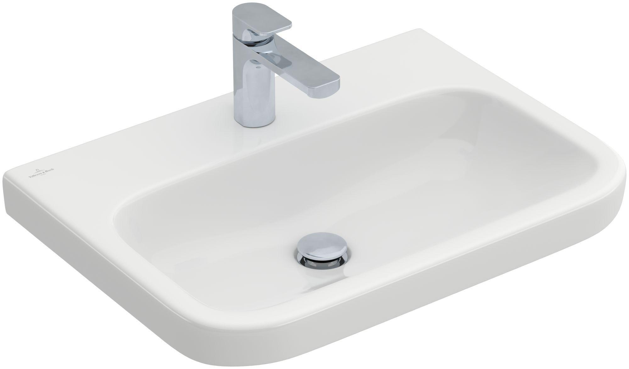 Villeroy & Boch Architectura Waschtisch B:65xT:47cm mit 1 Hahnloch ohne Überlauf weiß mit CeramicPlus 418866R1