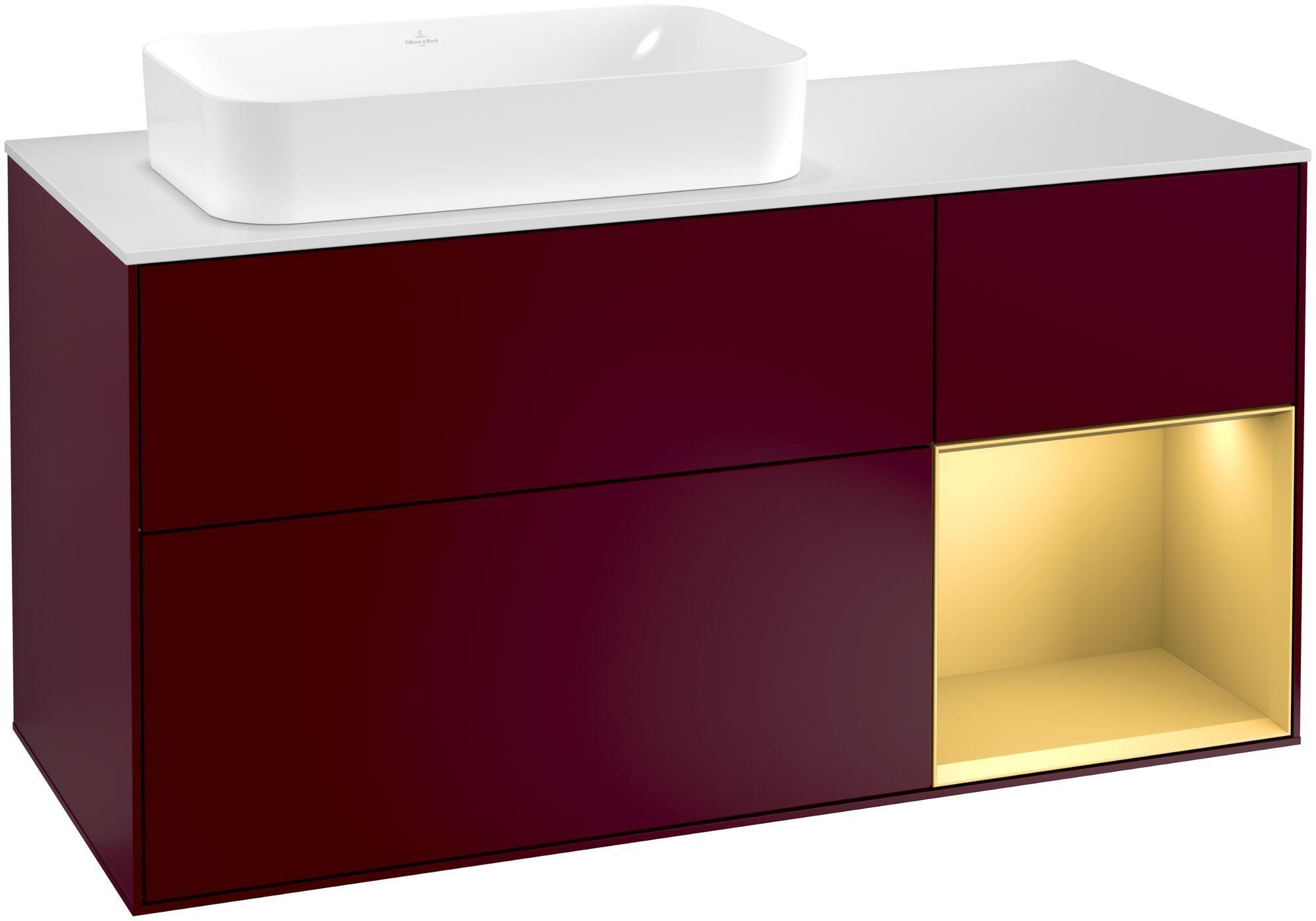 Villeroy & Boch Finion F28 Waschtischunterschrank mit Regalelement 3 Auszüge Waschtisch links LED-Beleuchtung B:120xH:60,3xT:50,1cm Front, Korpus: Peony, Regal: Gold Matt, Glasplatte: White Matt F281HFHB