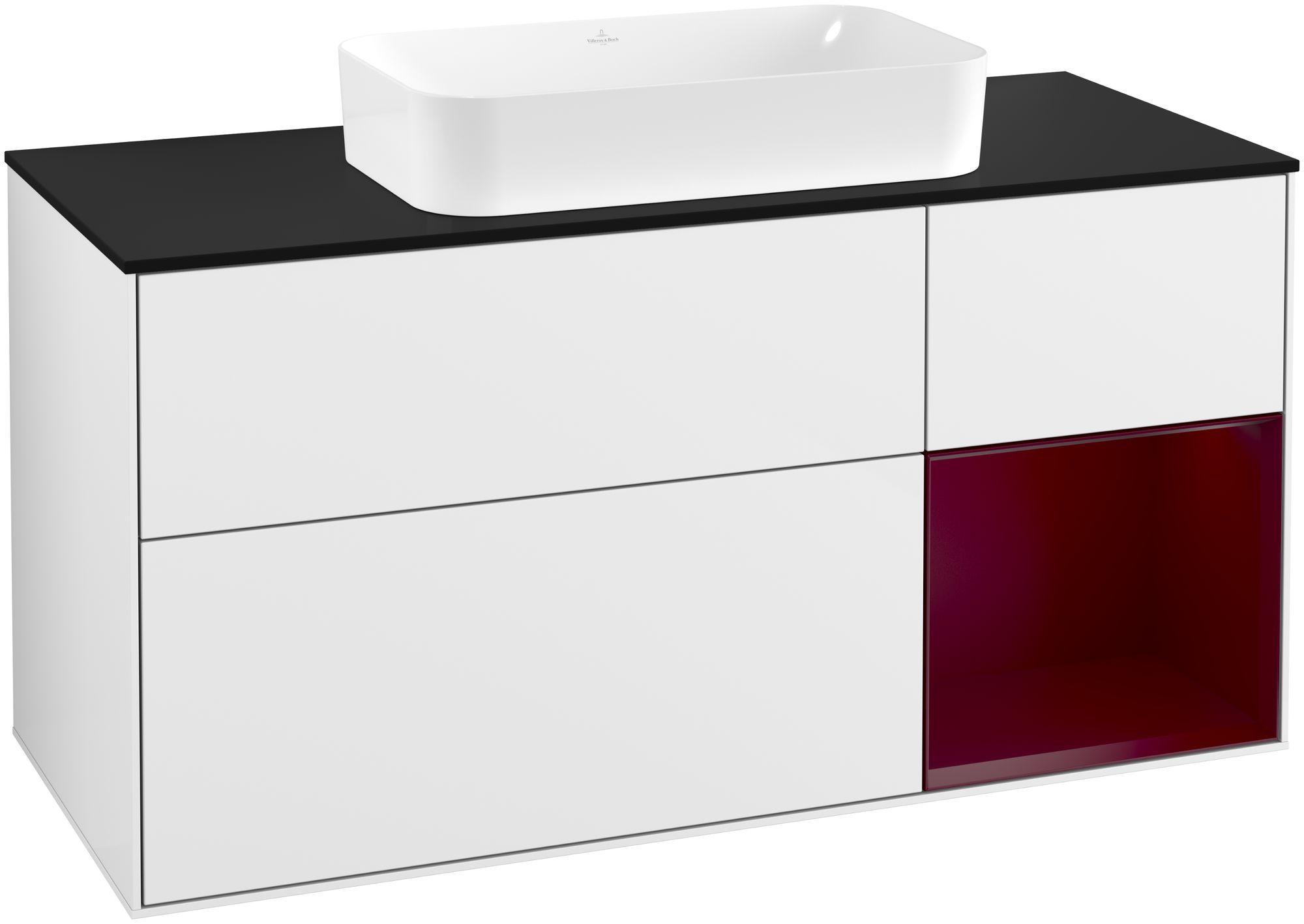 Villeroy & Boch Finion G30 Waschtischunterschrank mit Regalelement 3 Auszüge Waschtisch mittig LED-Beleuchtung B:120xH:60,3xT:50,1cm Front, Korpus: Glossy White Lack, Regal: Peony, Glasplatte: Black Matt G302HBGF