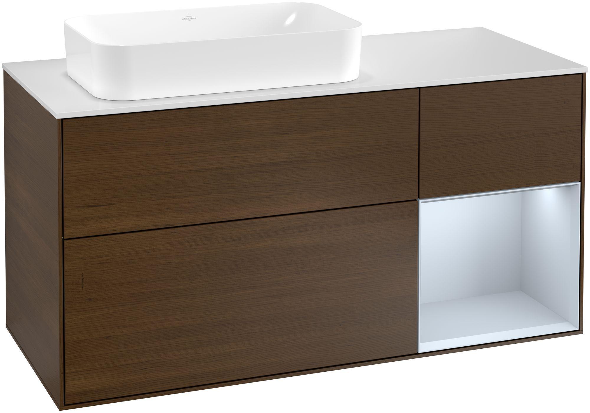 Villeroy & Boch Finion G28 Waschtischunterschrank mit Regalelement 3 Auszüge Waschtisch links LED-Beleuchtung B:120xH:60,3xT:50,1cm Front, Korpus: Walnut Veneer, Regal: Cloud, Glasplatte: White Matt G281HAGN