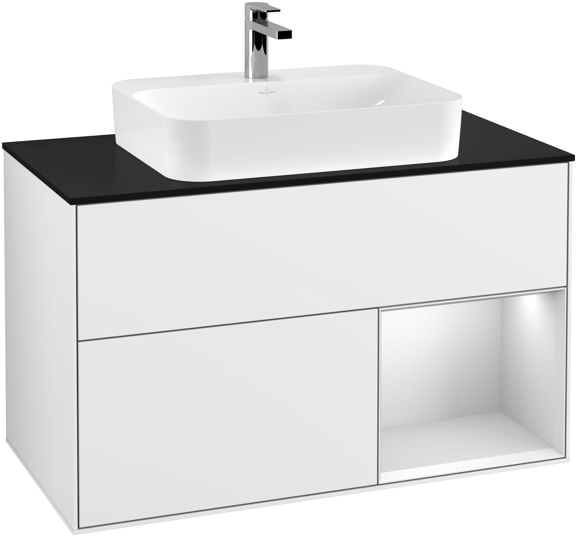 Villeroy & Boch Finion G37 Waschtischunterschrank mit Regalelement 2 Auszüge für WT mittig LED-Beleuchtung B:100xH:60,3xT:50,1cm Front, Korpus: Glossy White Lack, Regal: Weiß Matt Soft Grey, Glasplatte: Black Matt G372MTGF