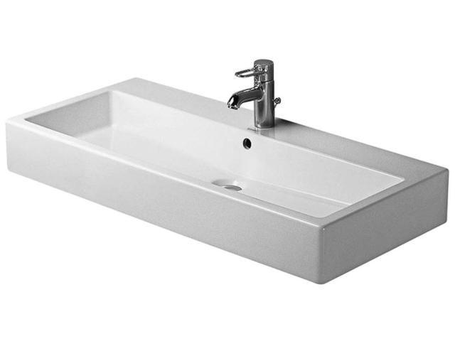 Duravit Vero Waschtisch B:100xT:47cm 1 Hahnloch mittig mit Überlauf weiß 0454100000