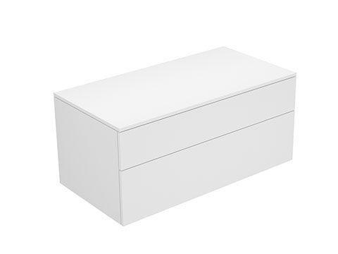 Keuco Edition 400 Sideboard wandhängend 2 Frontauszüge 1050 x 472 x 535 mm weiß/Glas titan satiniert 31753770000