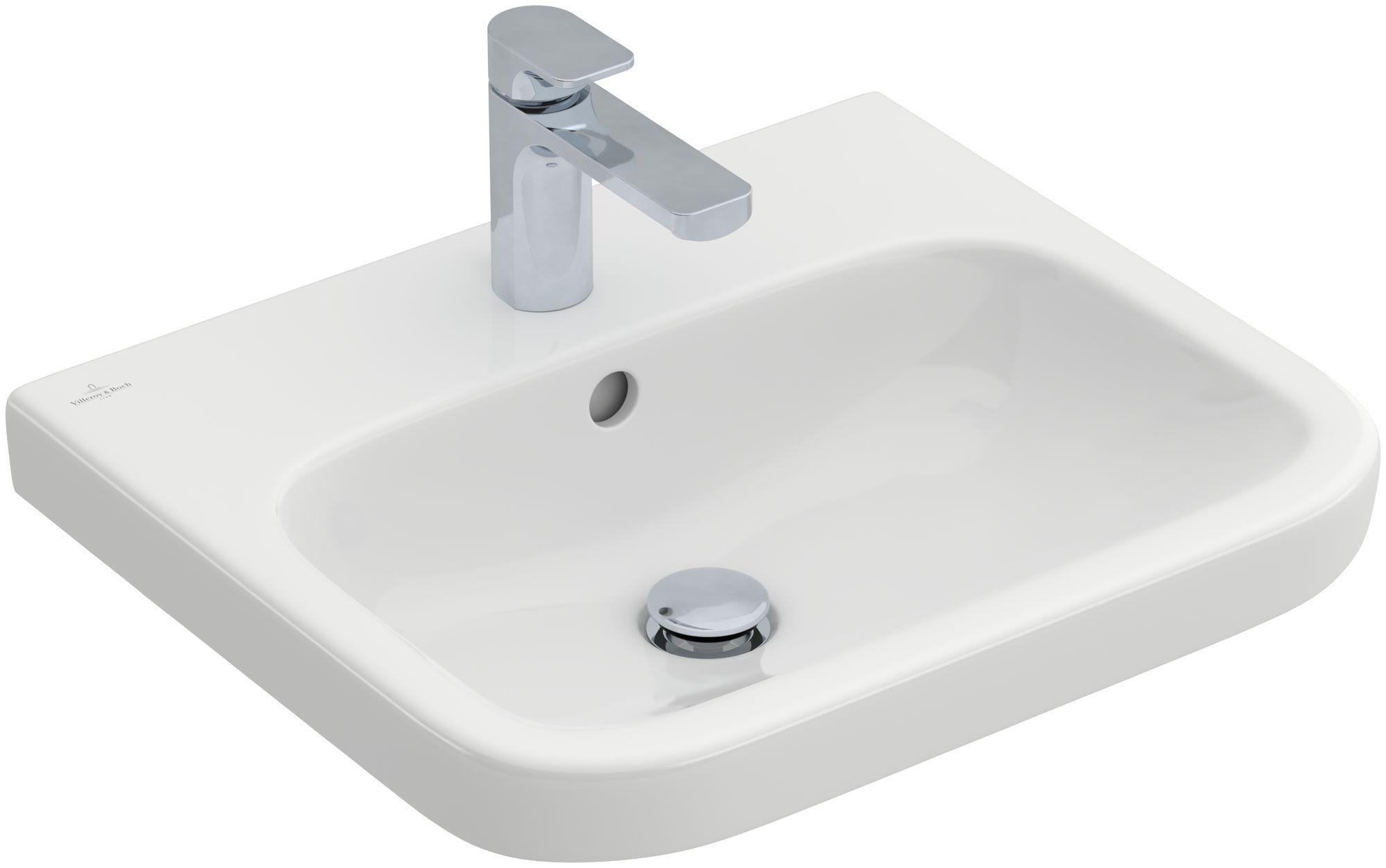 Villeroy & Boch Architectura Waschtisch B:55xT:47cm mit 1 Hahnloch mit Überlauf Unterseite geschliffen weiß mit CeramicPlus 41885GR1