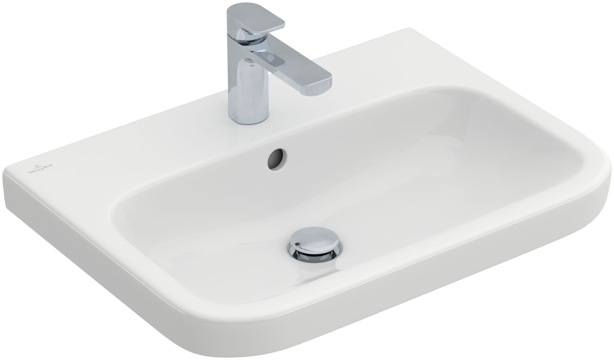 Villeroy & Boch Architectura Waschtisch B:65xT:47cm mit 1 Hahnloch mit Überlauf weiß mit CeramicPlus 418865R1