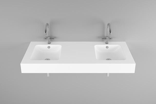 Bette One Wand-Doppelwaschtisch B:140xT:53xH:14cm mit 2 Hahnlöchern mit Überlauf weiß A142-000HLW2