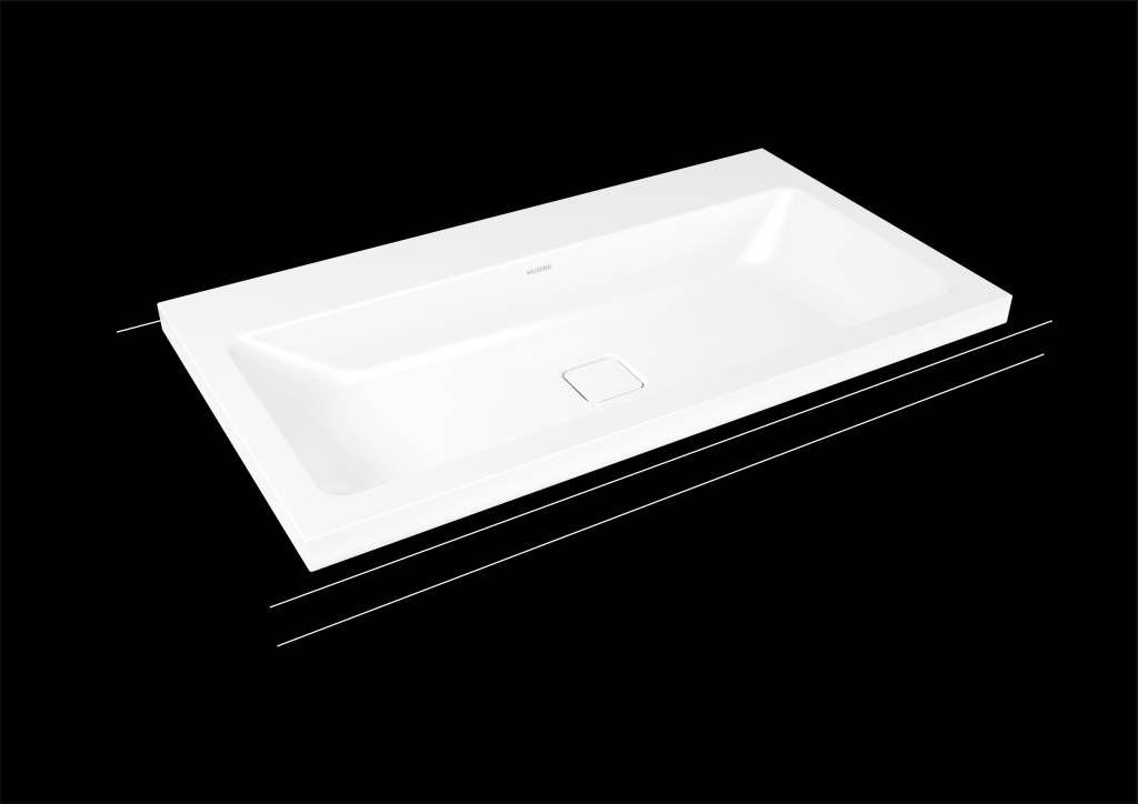 Kaldewei Cono Aufsatzwaschtisch 3084 B:90xT:50cm ohne Überlauf mit 3 Hahnlöchern weiß mit Perl-Effekt 902006033001
