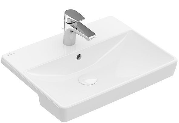 Villeroy & Boch Avento Vorbauwaschtisch ohne Überlauf 1 Hahnloch B:55xT:44cm ohne Überlauf 1 Hahnloch weiß Ceramicplus 4A0655R1