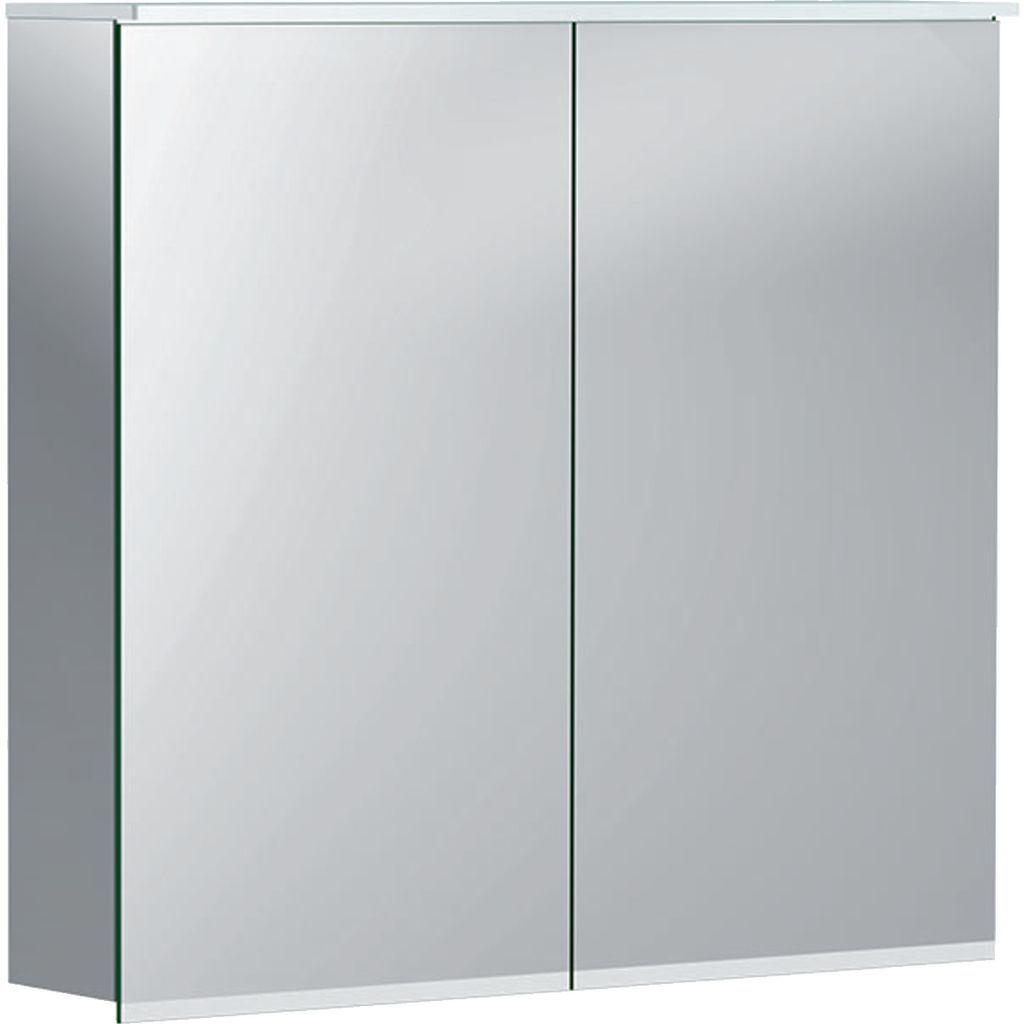 Geberit Option Plus Spiegelschrank mit Beleuchtung und zwei Türen: innen und außen verspiegelt mit Steckdose B:75xH:70xT:17,2cm außen verspiegelt 500206001