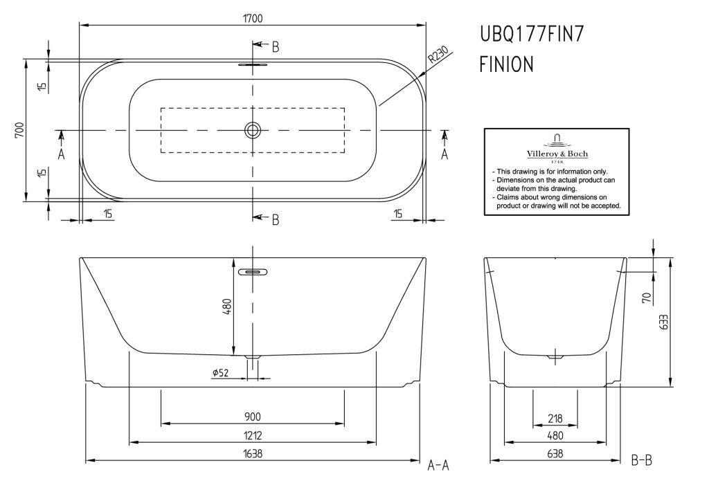 Villeroy & Boch Finion Badewanne freistehend L:170xB:70xcm weiß 177FIN7A300V401