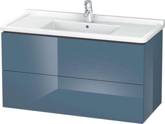 Duravit L-Cube Waschtischunterschrank wandhängend B:102xH:55,8xT:46,9 cm mit 2 Schubkästen stone blue hochglanz LC626604747