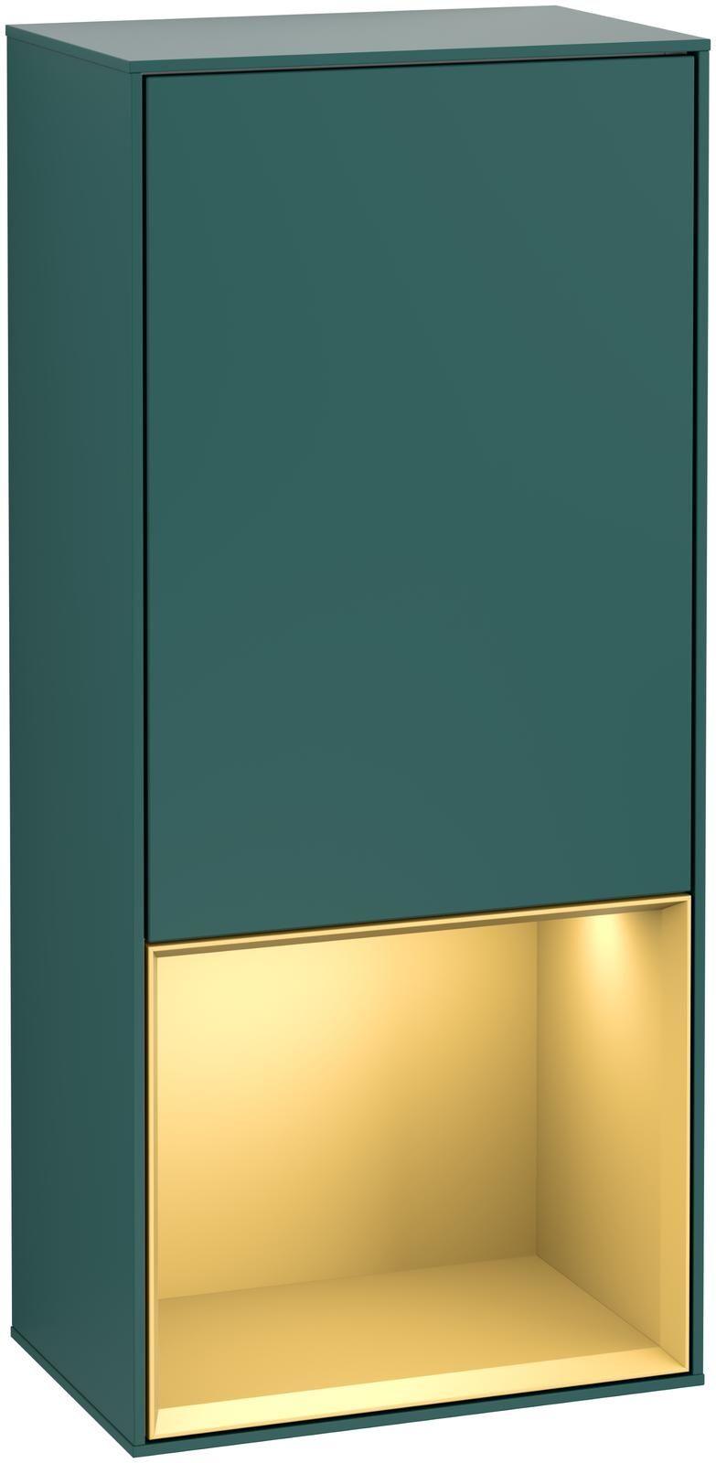 Villeroy & Boch Finion G54 Seitenschrank mit Regalelement 1 Tür Anschlag links LED-Beleuchtung B:41,8xH:93,6xT:27cm Front, Korpus: Cedar, Regal: Gold Matt G540HFGS