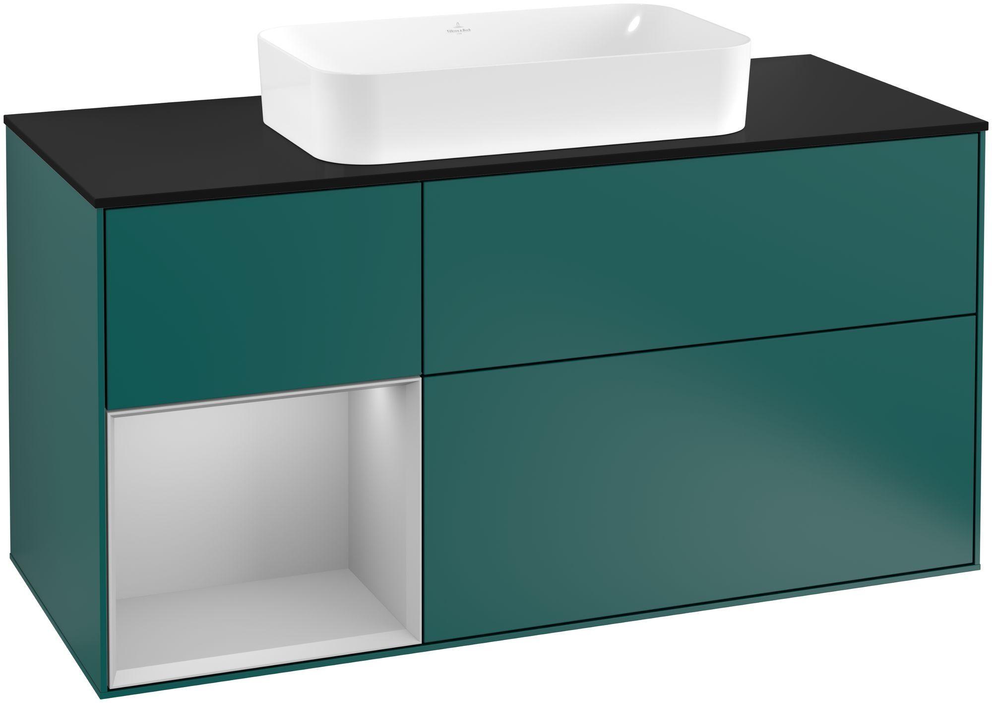 Villeroy & Boch Finion G29 Waschtischunterschrank mit Regalelement 3 Auszüge Waschtisch mittig LED-Beleuchtung B:120xH:60,3xT:50,1cm Front, Korpus: Cedar, Regal: Light Grey Matt, Glasplatte: Black Matt G292GJGS