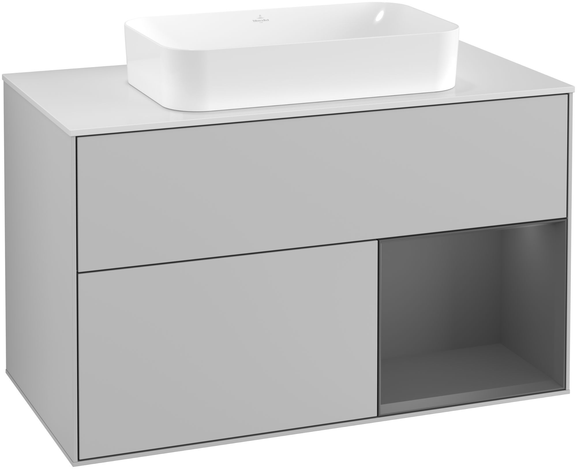 Villeroy & Boch Finion G25 Waschtischunterschrank mit Regalelement 2 Auszüge für WT mittig LED-Beleuchtung B:100xH:60,3xT:50,1cm Front, Korpus: Light Grey Matt, Regal: Anthracite Matt, Glasplatte: White Matt G251GKGJ
