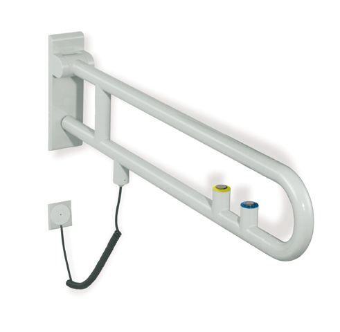 HEWI Stützklappgriff Serie 801 elektrische Ausführung mit WC-Spülung L:700 Tiefschwarz 801.50.700 90