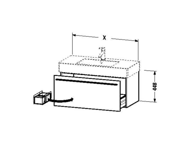 Duravit X-Large Waschtischunterschrank wandhängend B:120xH:44,8xT:46,8cm 1 Auszug Nusbaum natur XL605407979