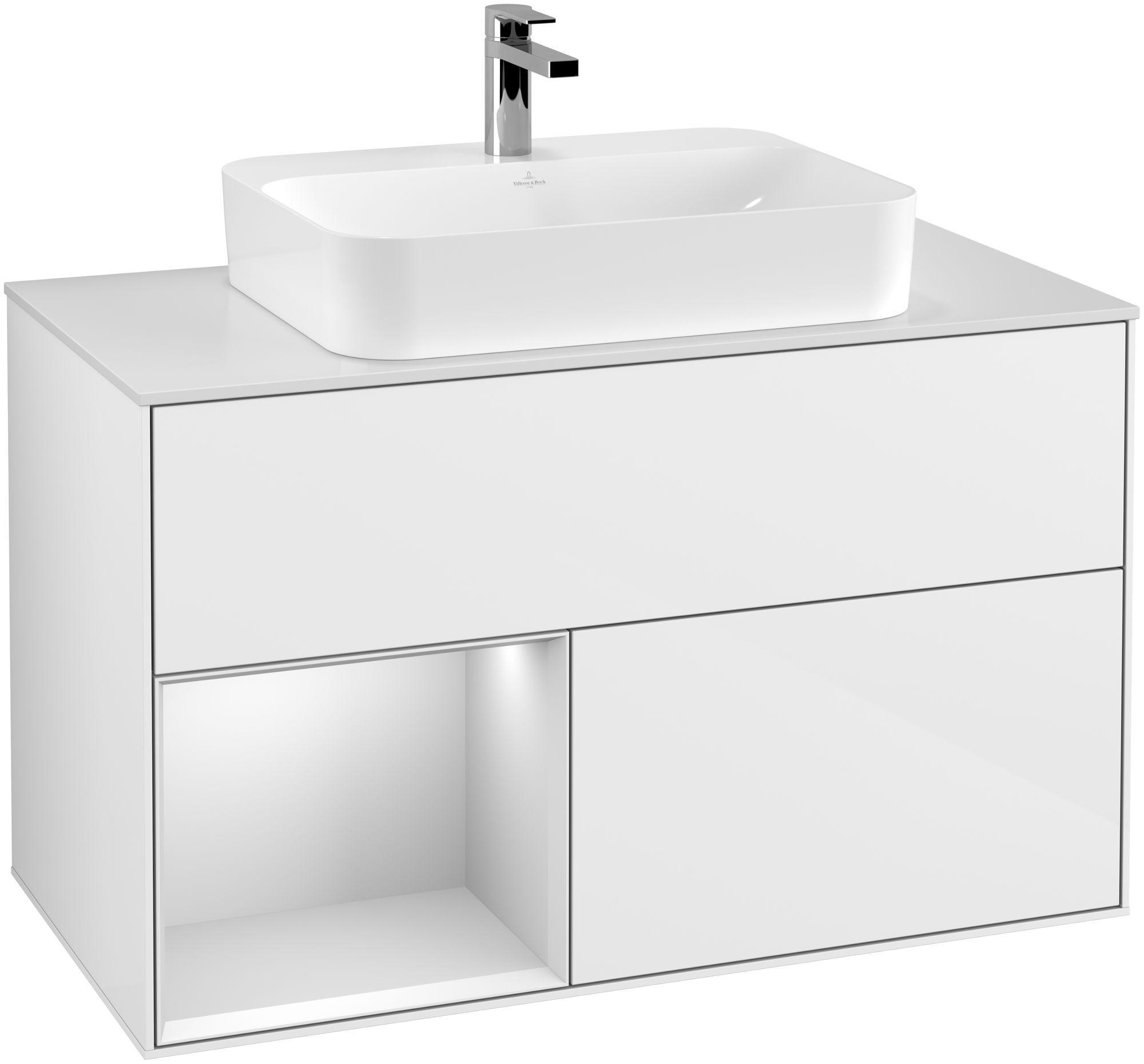 Villeroy & Boch Finion G36 Waschtischunterschrank mit Regalelement 2 Auszüge für WT mittig LED-Beleuchtung B:100xH:60,3xT:50,1cm Front, Korpus: Glossy White Lack, Regal: Weiß Matt Soft Grey, Glasplatte: White Matt G361MTGF