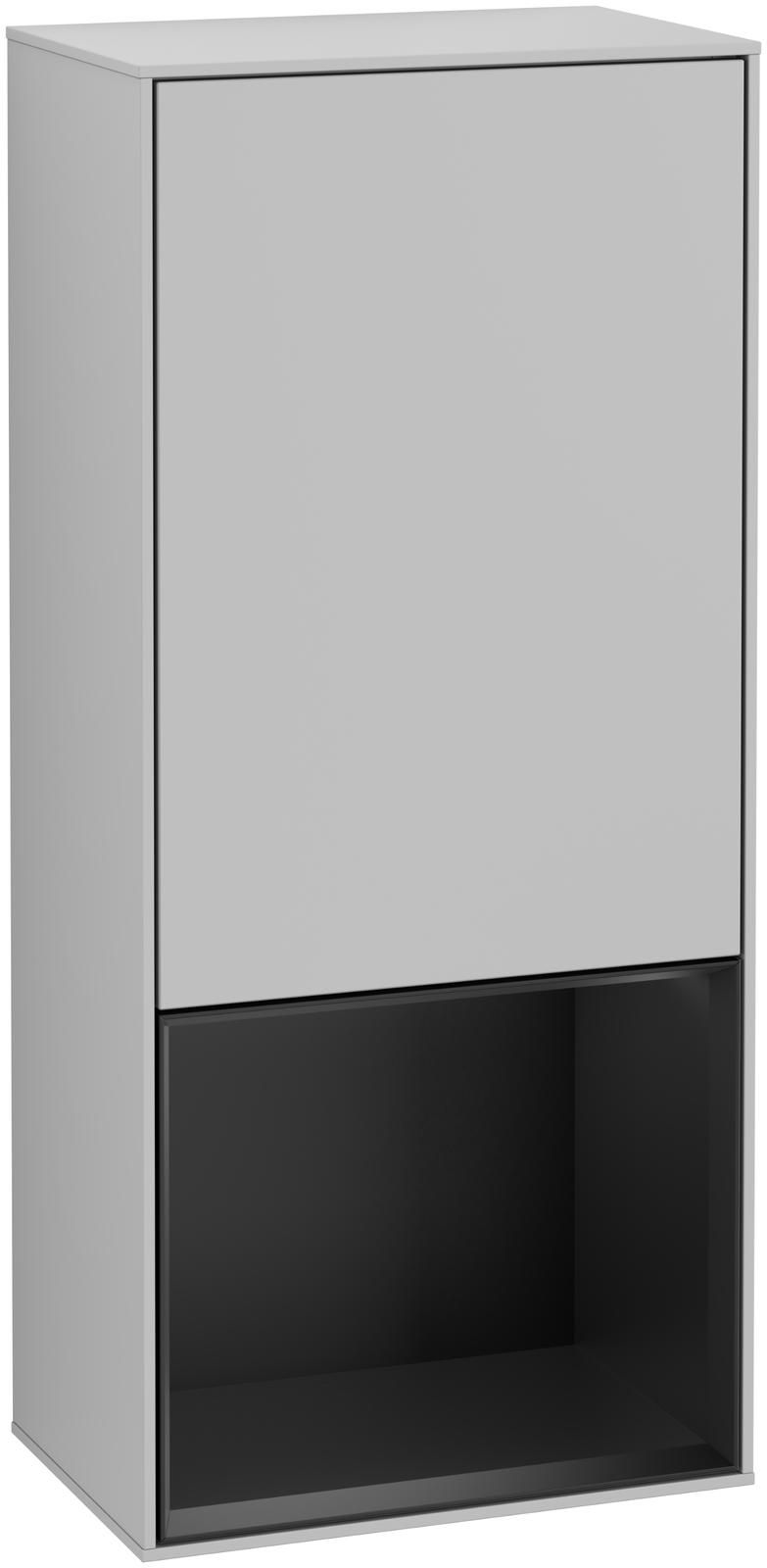 Villeroy & Boch Finion F55 Seitenschrank mit Regalelement 1 Tür Anschlag rechts LED-Beleuchtung B:41,8xH:93,6xT:27cm Front, Korpus: Light Grey Matt, Regal: Black Matt Lacquer F550PDGJ