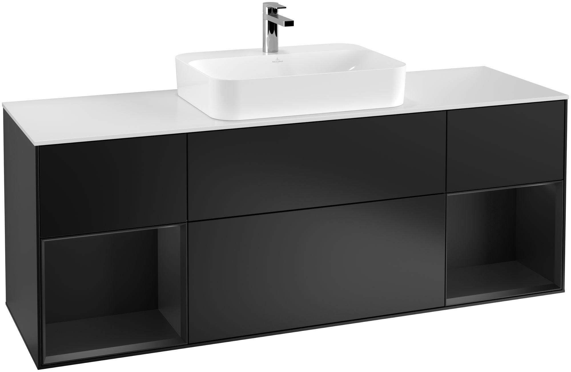 Villeroy & Boch Finion G45 Waschtischunterschrank mit Regalelement 4 Auszüge Waschtisch mittig LED-Beleuchtung B:160xH:60,3xT:50,1cm Front, Korpus: Black Matt Lacquer, Glasplatte: White Matt G451PDPD