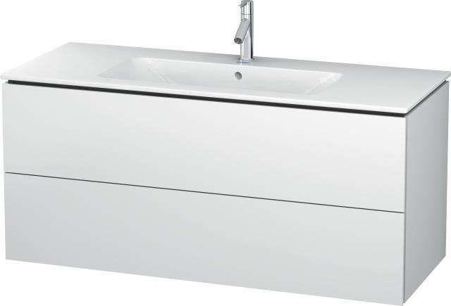Duravit L-Cube Waschtischunterschrank wandhängend B:122xH:55xT:48,1 cm mit 2 Schubkästen weiß matt LC624301818