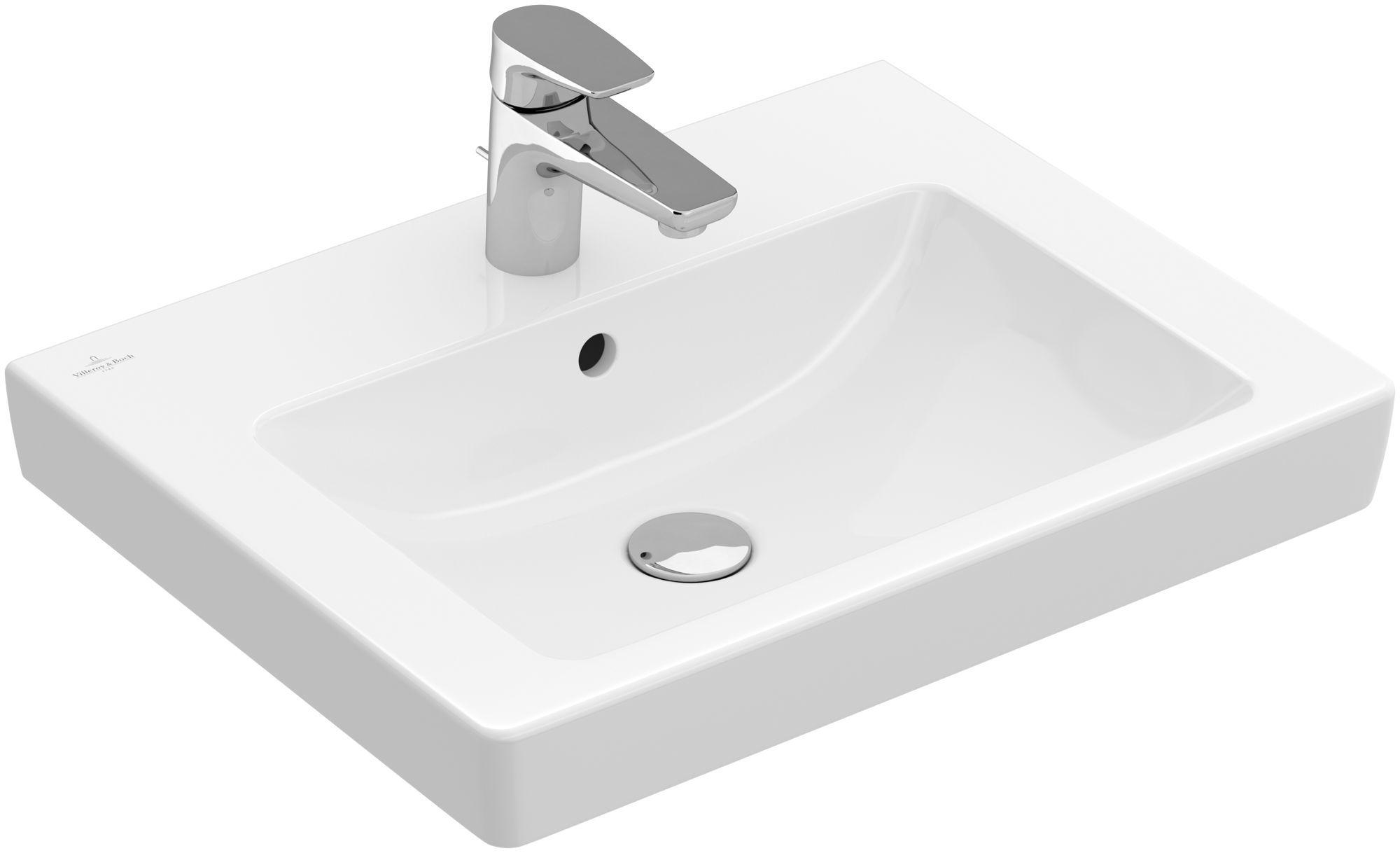 Villeroy & Boch Subway 2.0 Waschtisch B:55xT:44cm ohne Hahnloch mit Überlauf weiß mit Ceramicplus 7113F7R1