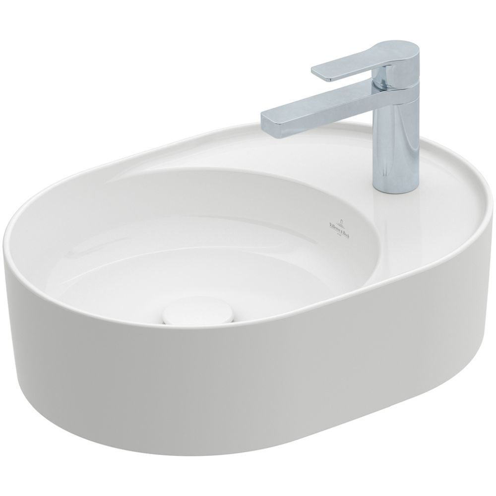 Villeroy & Boch Aufsatzwaschbecken Collaro, 510 x 380 mm, Oval, 1HL. mittleres Hahnloch durchgestochen, ohne Überlauf, ungeschliffen, Stone White CeramicPlus 4A1551RW