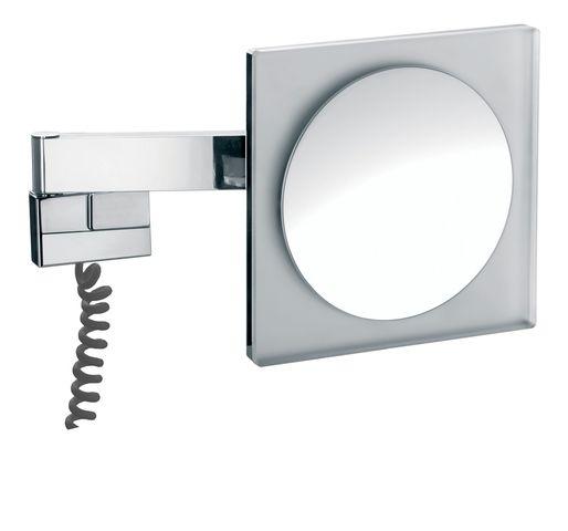 Emco LED Rasier- & Kosmetikspiegel 2-armig Vergrößerung 5-fach mit Farbwechsel mit Stecker eckig chrom 109606005