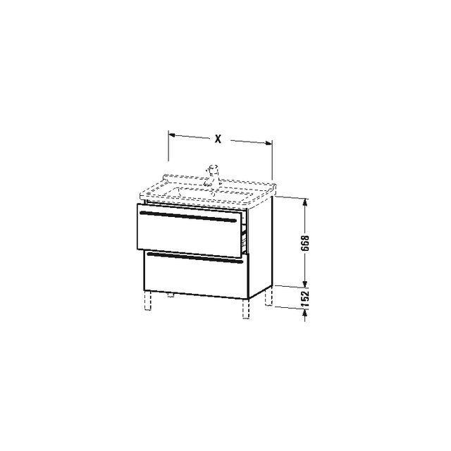 Duravit X-Large Waschtischunterschrank wandhängend B:65xH:66,8xT:47 cm mit 2 Auszügen basalt matt XL653504343