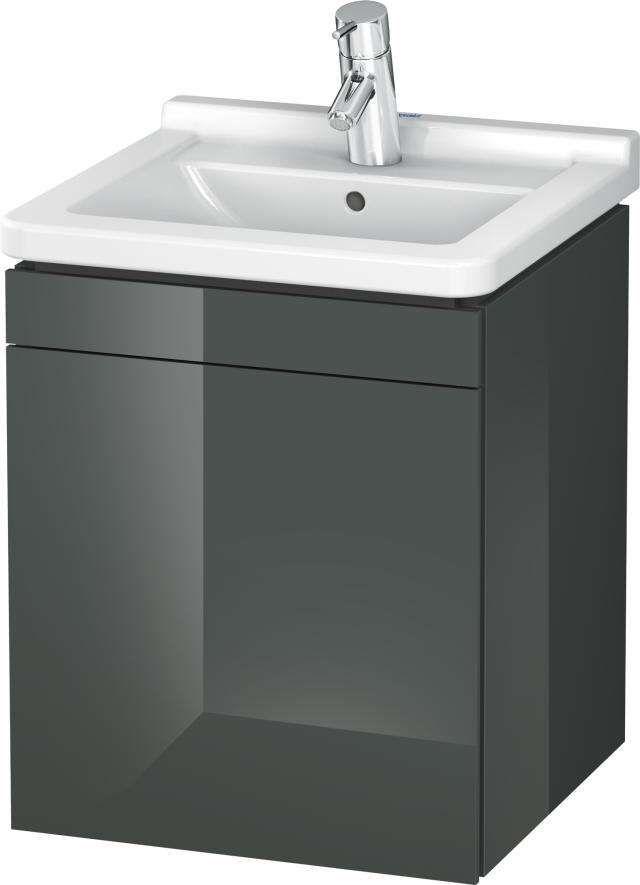 Duravit L-Cube Waschtischunterschrank wandhängend B:46xH:55,8xT:44,7 cm mit 1 Tür Anschlag links dolomiti grey hochglanz LC6168L3838