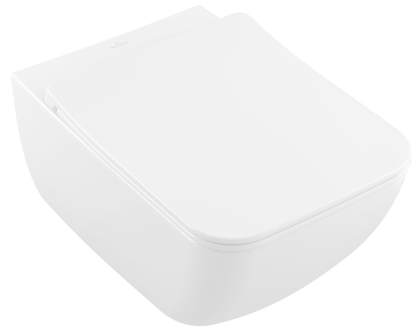 Villeroy & Boch Venticello Wand-Tiefspül-WC Combi-Pack DirectFlush L:56 B:37,5cm weiß mit CeramicPlus 4611RLR1