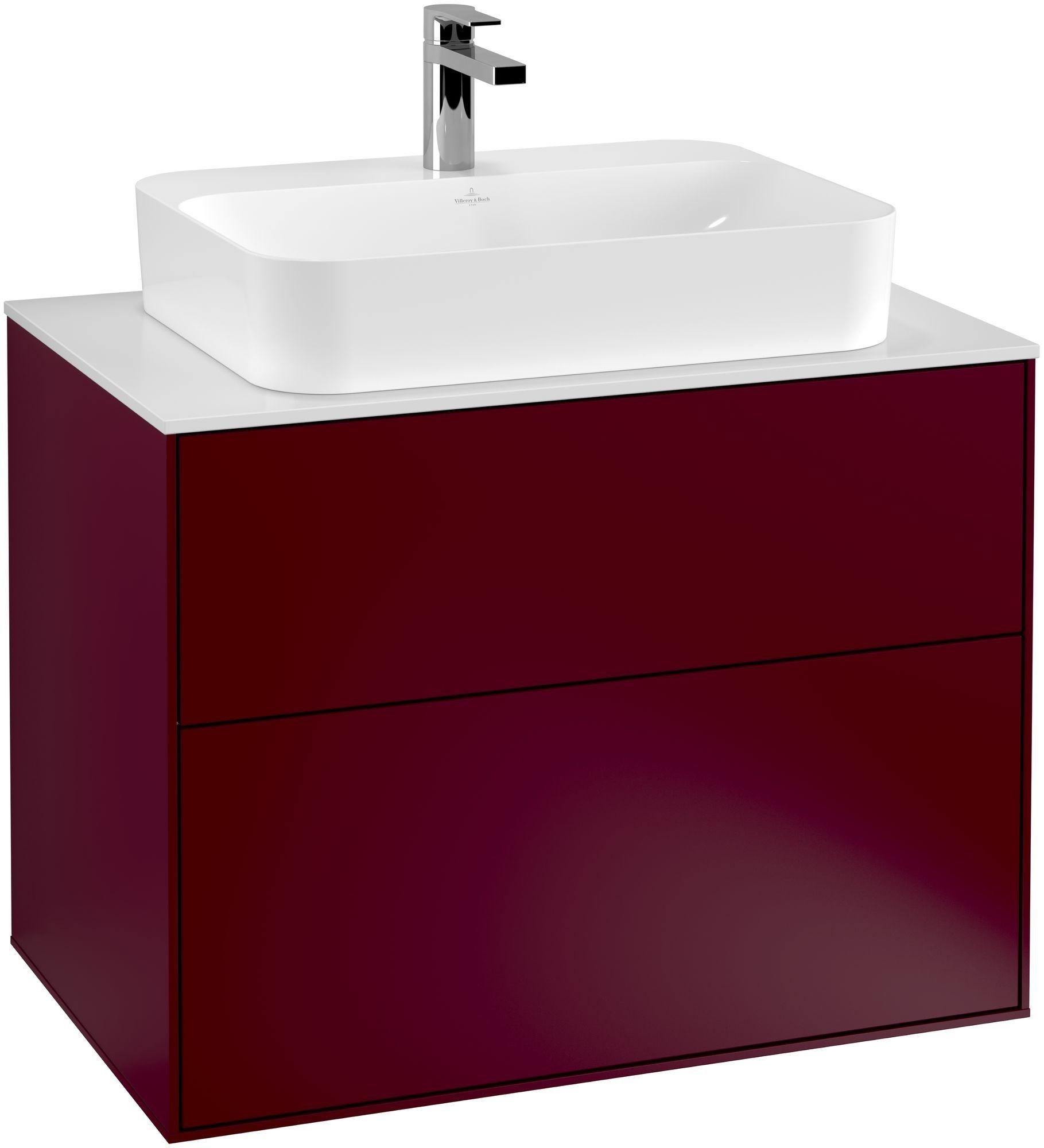 Villeroy & Boch Finion G34 Waschtischunterschrank 2 Auszüge Waschtisch mittig LED-Beleuchtung B:80xH:60,3xT:50,1cm Front, Korpus: Peony, Glasplatte: White Matt G34100HB