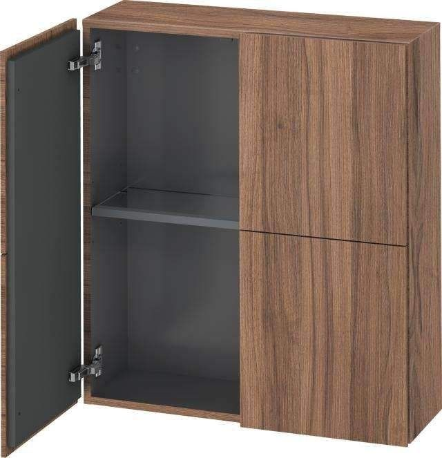Duravit L-Cube Halbhochschrank B:70xH:80xT:24,3cm 2 Türen Nussbaum natur LC116707979