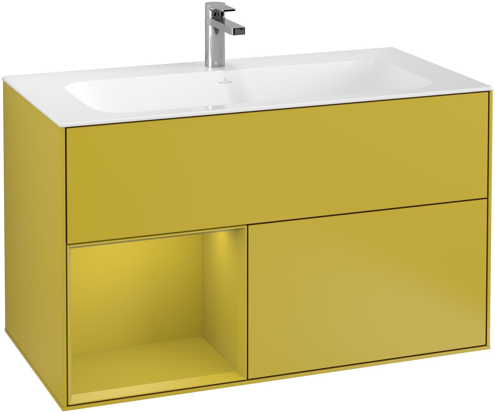 Villeroy & Boch Finion G03 Waschtischunterschrank mit Regalelement 2 Auszüge LED-Beleuchtung B:99,6xH:59,1xT:49,8cm Front, Korpus: Sun G030HEHE