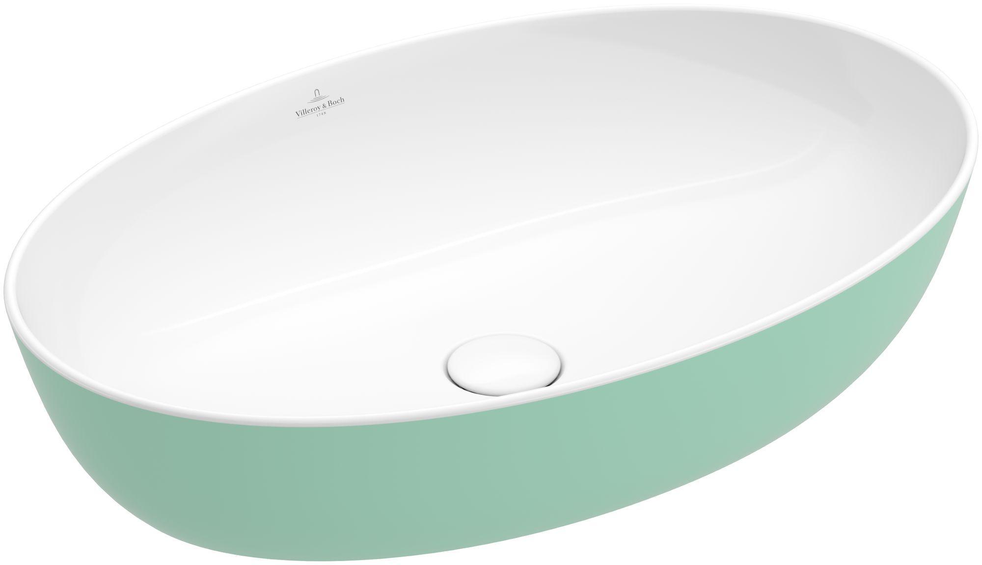 Villeroy & Boch Artis Aufsatzwaschtisch B:61xT:41cm ohne Hahnlochbank ohne Überlauf oval weiß mint 419861BCW3