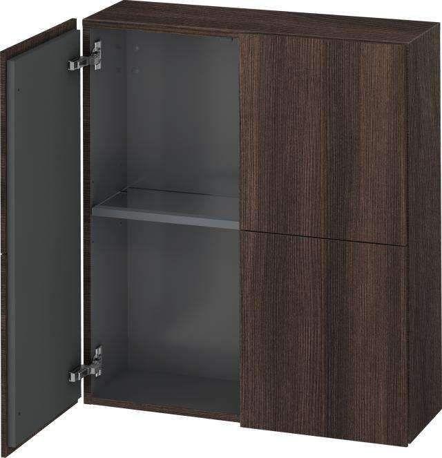 Duravit L-Cube Halbhochschrank B:70xH:80xT:24,3cm 2 Türen kastanie dunkel LC116705353