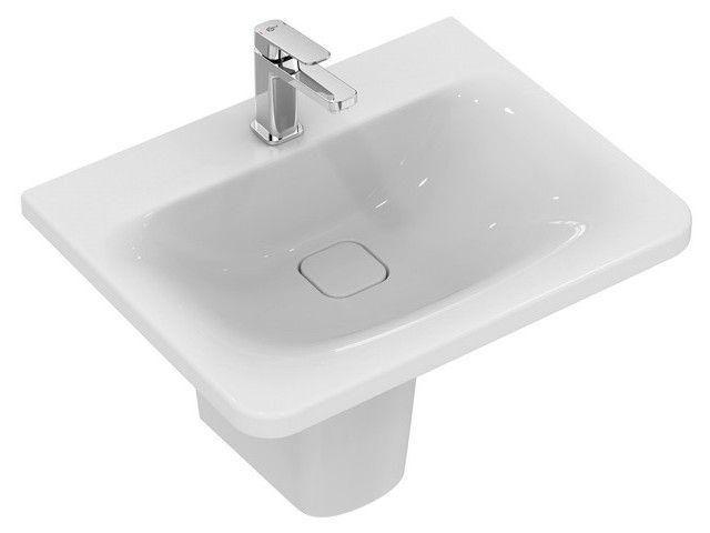 Ideal Standard Tonic II Waschtisch B:61,5xT:49xH:17cm 1 Hahnloch mittig ohne Überlauf Überlaufsystem Ideal Flow weiß mit IdealPlus K0878MA