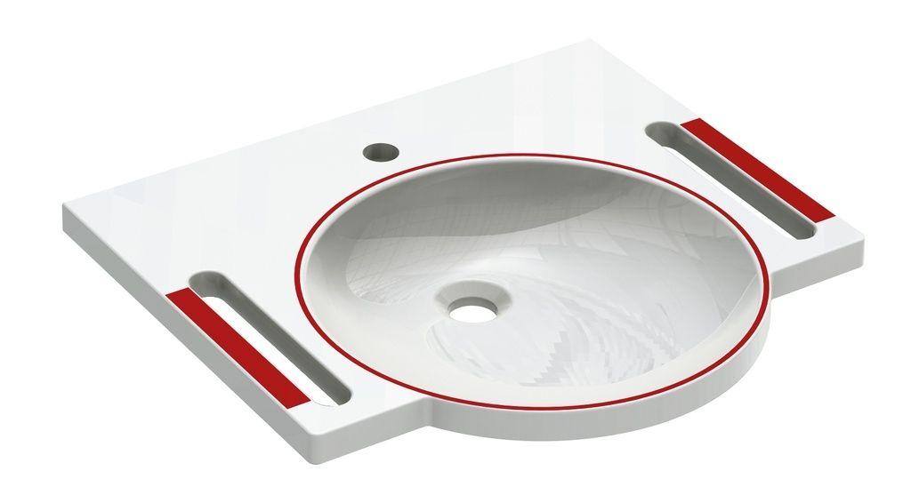 Hewi Demenz-Waschtisch B:60xT:55cm 1 Hahnloch ohne Überlauf rubinrot 950.11.106 33