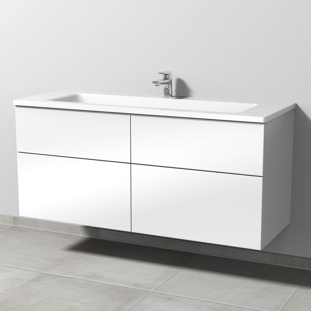 Sanipa 3way Set Mineralguss-Waschtisch (SF307) H:58,2xB:130xL:48,7cm Weiß-Glanz SF30778
