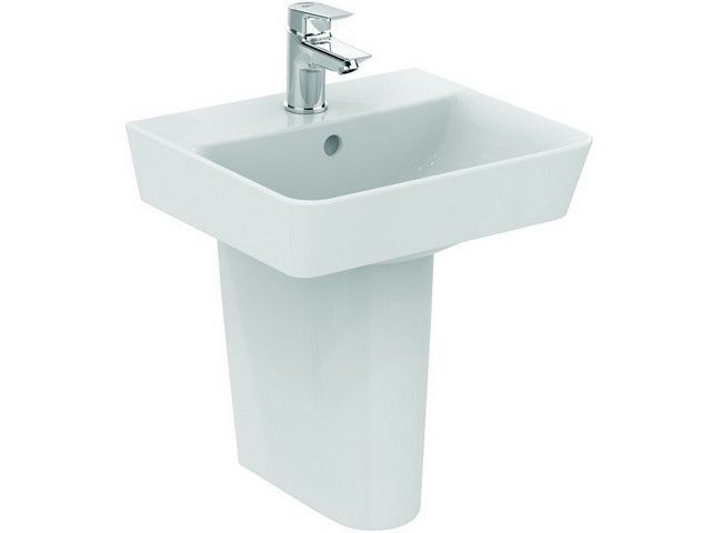 Ideal Standard Connect Air Handwaschbecken B:40xH:15xT:35 cm 1 Hahnloch mittig mit Überlauf Feinfeuerton weiß mit Ideal Plus E0307MA