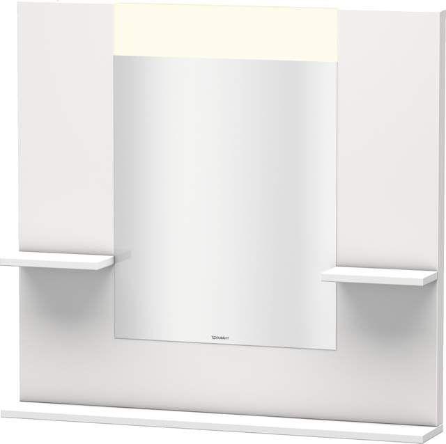 Duravit Vero Spiegel mit LED-Beleuchtung B:85xH:80xT:14,2cm mit Ablagen rechts links und unten weiß hochglanz VE735002222