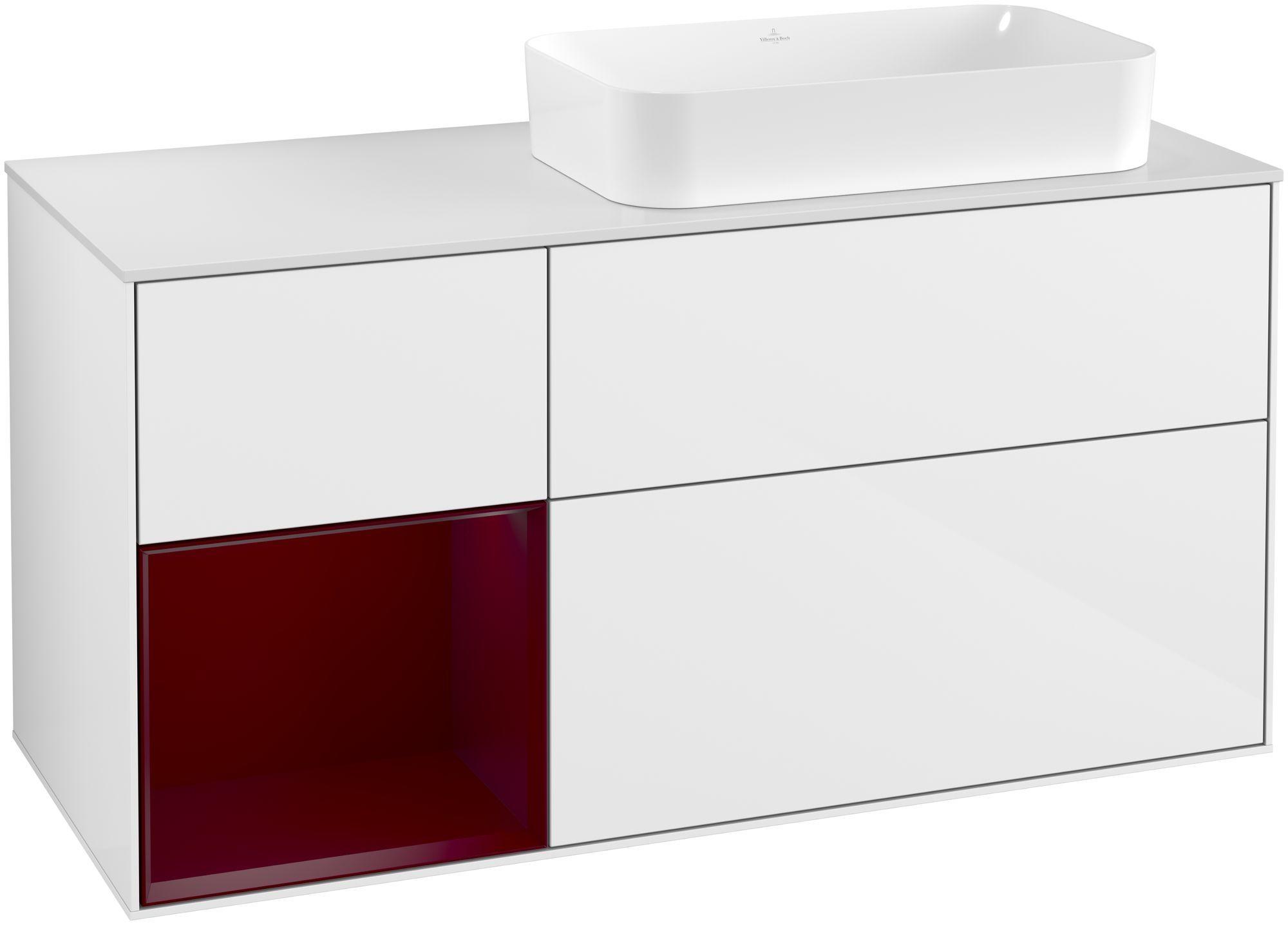 Villeroy & Boch Finion G27 Waschtischunterschrank mit Regalelement 3 Auszüge Waschtisch rechts LED-Beleuchtung B:120xH:60,3xT:50,1cm Front, Korpus: Glossy White Lack, Regal: Peony, Glasplatte: White Matt G271HBGF