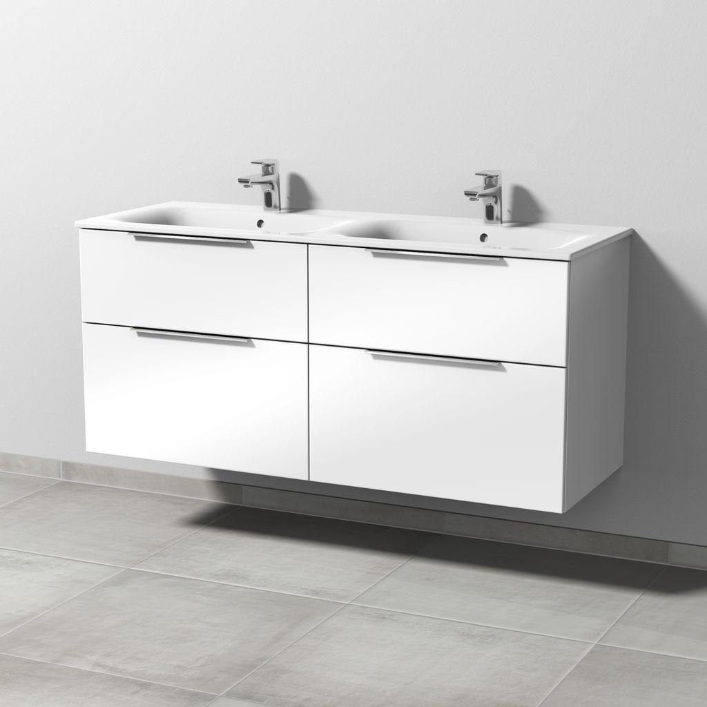 Sanipa 3way Waschtischunterbau mit Auszügen (UM689) H:58,2xB:128,4xT:47,2cm Weiß-Soft UM68943