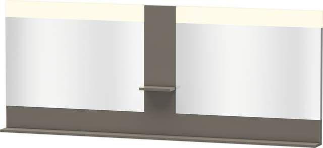 Duravit Vero Spiegel mit LED-Beleuchtung B:200xH:80xT:14,2cm mit Ablagen mittig und unten flannel grey hochglanz VE736308989