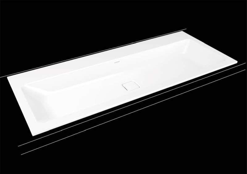 Kaldewei Cono Einbauwaschtisch 3082 B:120xT:50cm ohne Überlauf mit 2 Hahnlöchern weiß mit Perl-Effekt 901806043001