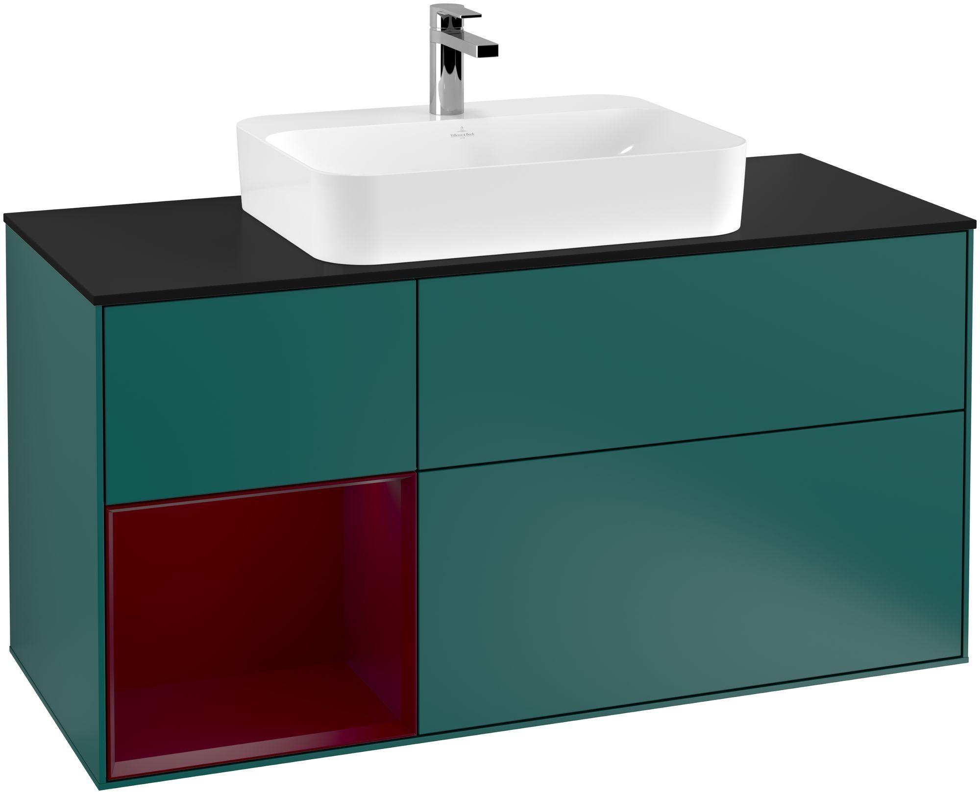 Villeroy & Boch Finion F41 Waschtischunterschrank mit Regalelement 3 Auszüge Waschtisch mittig LED-Beleuchtung B:120xH:60,3xT:50,1cm Front, Korpus: Cedar, Regal: Peony, Glasplatte: Black Matt F412HBGS