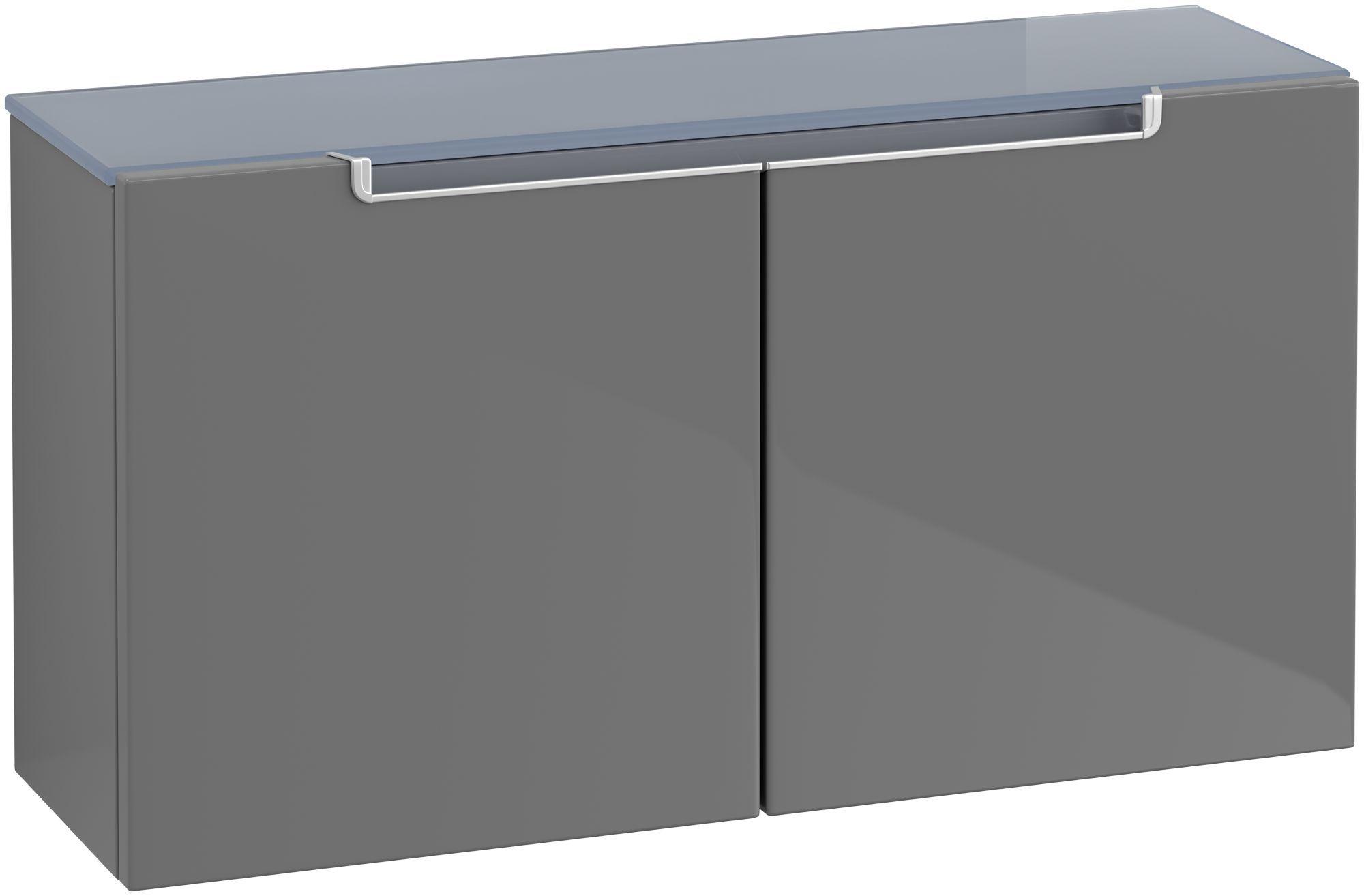Villeroy & Boch Subway 2.0 Sideboard 2 Türen B:758xT:235xH:400mm glossy grey Griffe silberfarbig matt A7040SFP