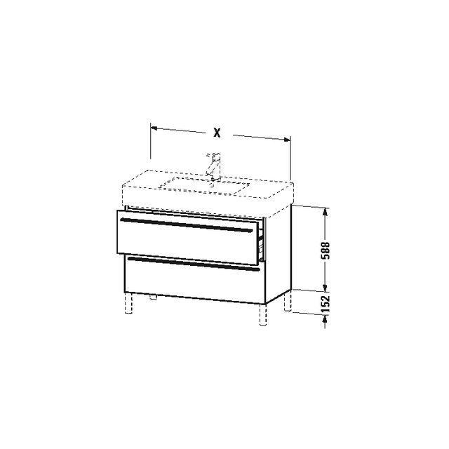 Duravit X-Large Waschtischunterschrank wandhängend B:80xH:58,8xT:47 cm mit 2 Auszügen basalt matt XL654304343