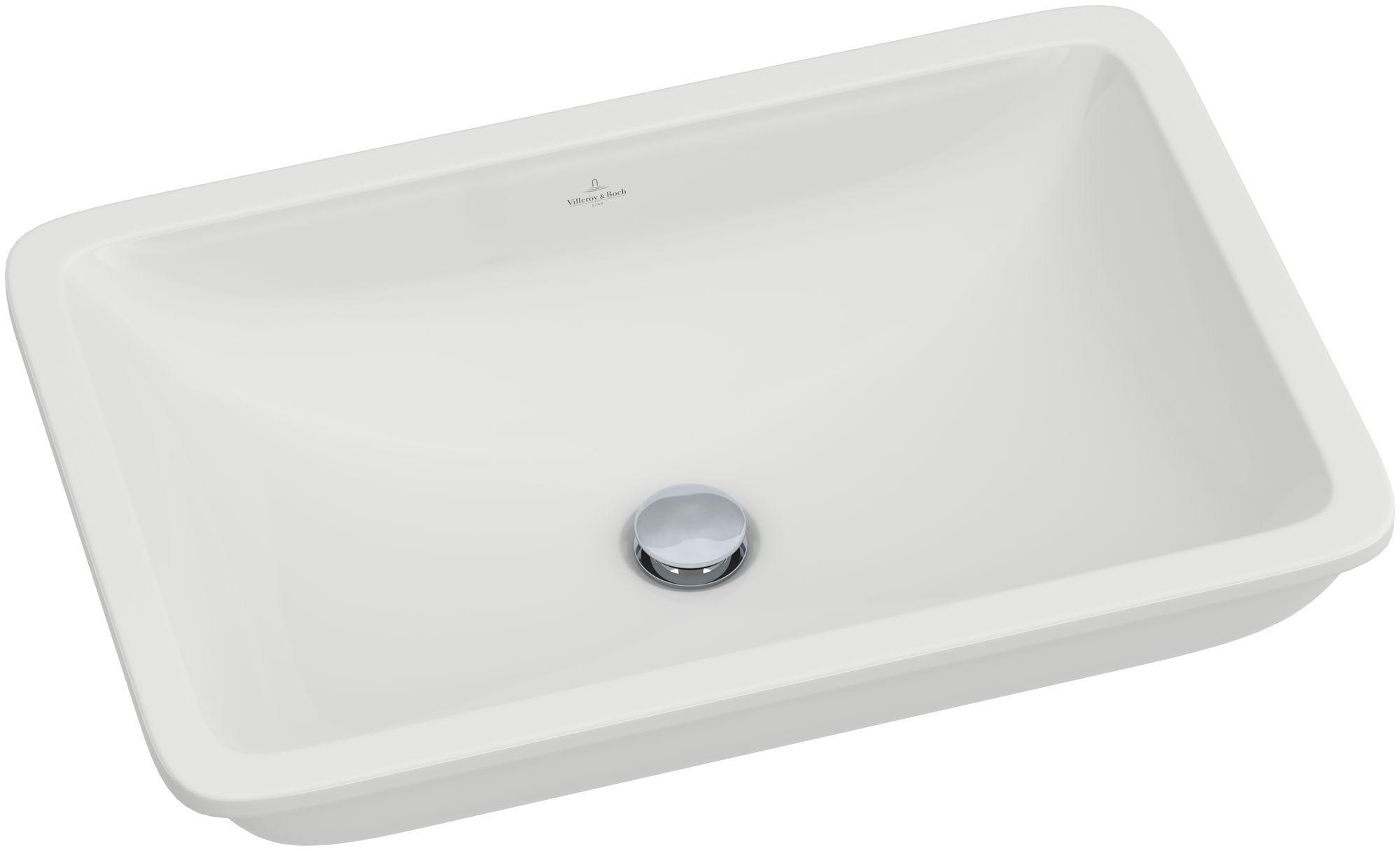 Villeroy & Boch Loop & Friends Unterbauwaschtisch B:61,5xT:39cm ohne Hahnloch mit Überlauf weiß mit Ceramicplus 616320R1