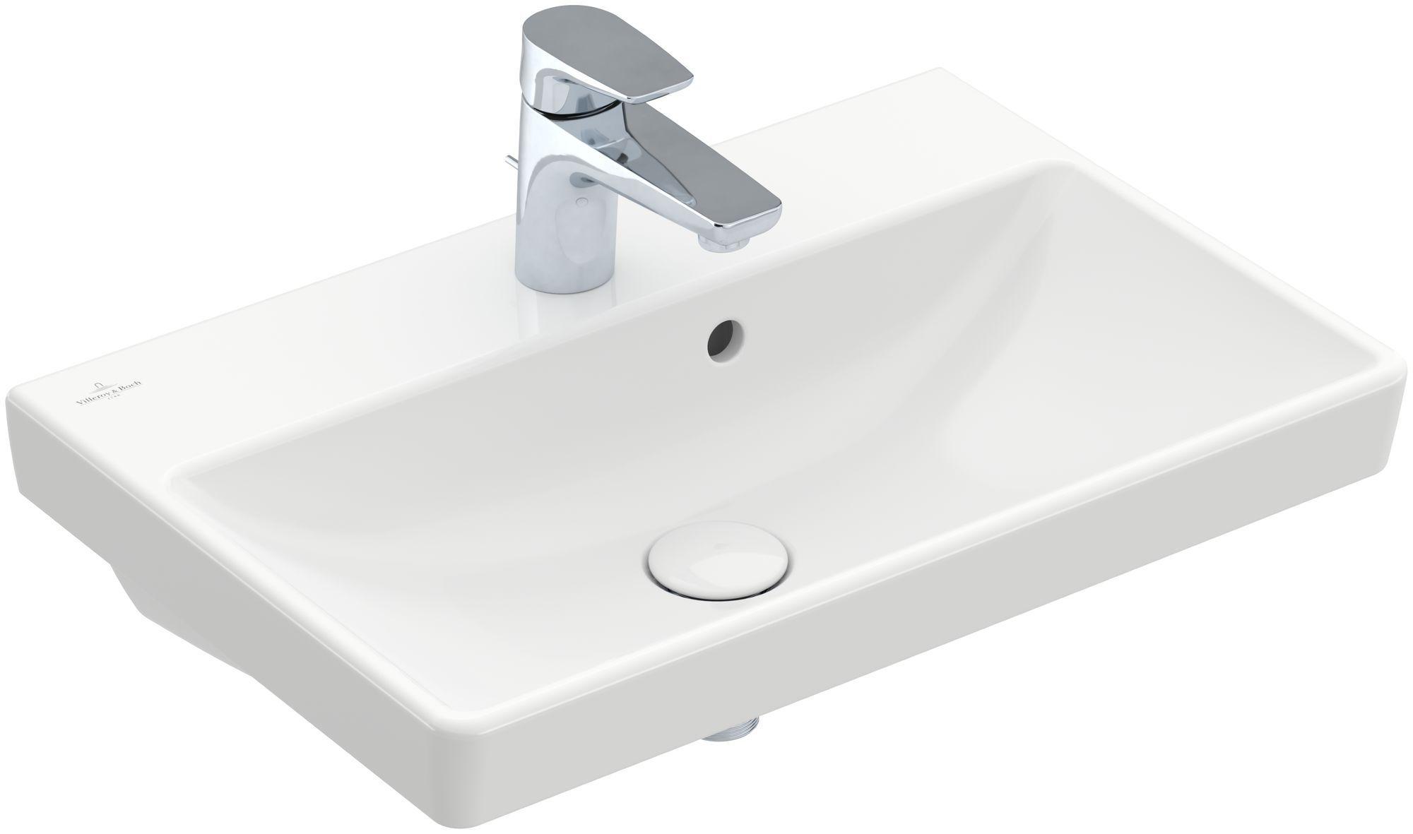 Villeroy & Boch Avento Waschtisch B:55xT:37cm 1 Hahnloch mit Überlauf weiß mit CeramicPlus 4A0055R1
