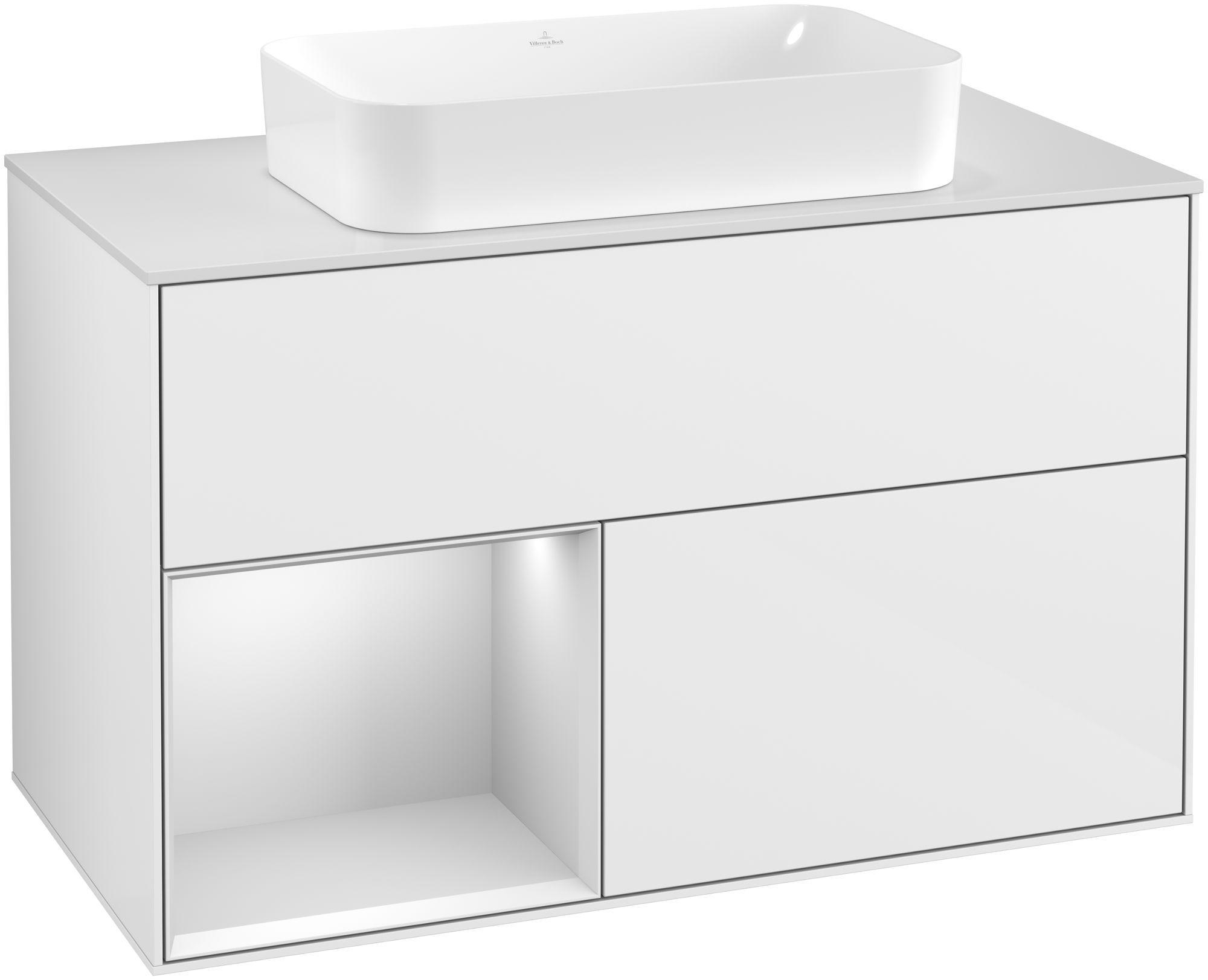Villeroy & Boch Finion G24 Waschtischunterschrank mit Regalelement 2 Auszüge für WT mittig LED-Beleuchtung B:100xH:60,3xT:50,1cm Front, Korpus: Glossy White Lack, Regal: Weiß Matt Soft Grey, Glasplatte: White Matt G241MTGF